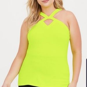 NWT TORRID SIZE 4 (FITS LIKE A 3) NEON YELLOW TANK